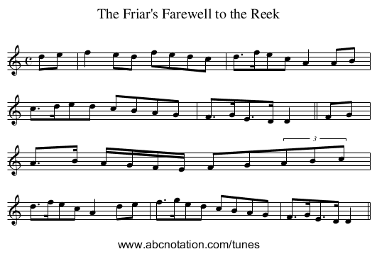 Friar's Farewell to the Reek, The - staff notation