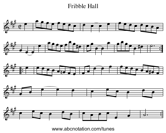 Fribble Hall - staff notation