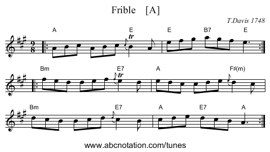 Frible    [A] - staff notation