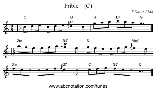 Frible    (C) - staff notation