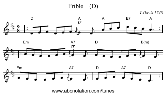 Frible    (D) - staff notation