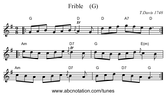 Frible    (G) - staff notation