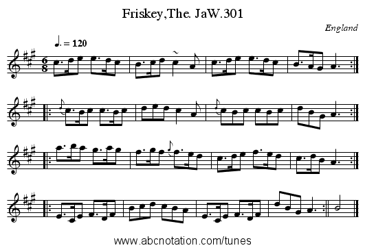 Friskey,The. JaW.301 - staff notation