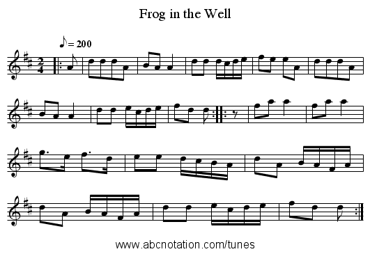 Frog in the Well - staff notation