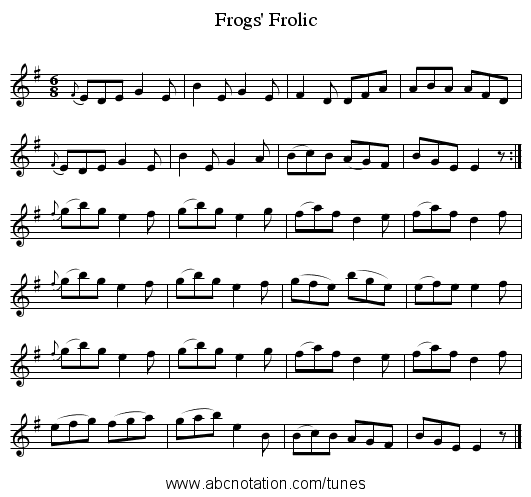 Frogs' Frolic - staff notation