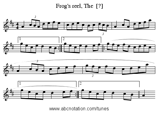 Frog's reel, The  [?] - staff notation