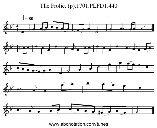 Frolic. (p).1701.PLFD1.440, The - staff notation