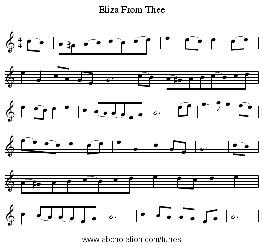 From Thee, Eliza - staff notation