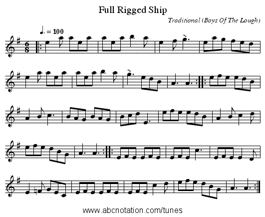 Full Rigged Ship - staff notation