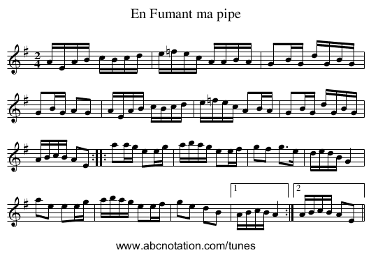 Fumant ma pipe, En - staff notation