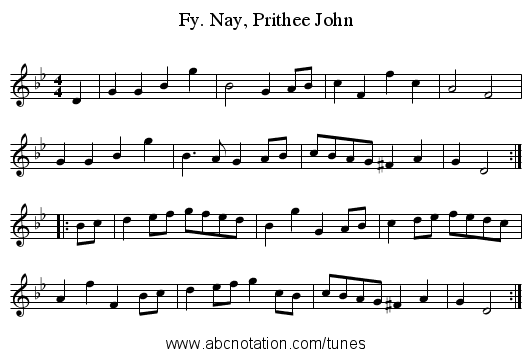 Fy. Nay, Prithee John - staff notation