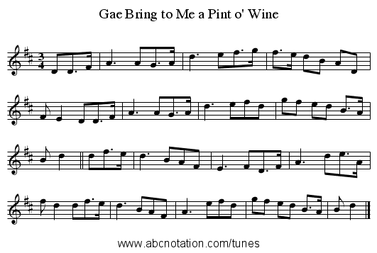 Gae Bring to Me a Pint o' Wine - staff notation