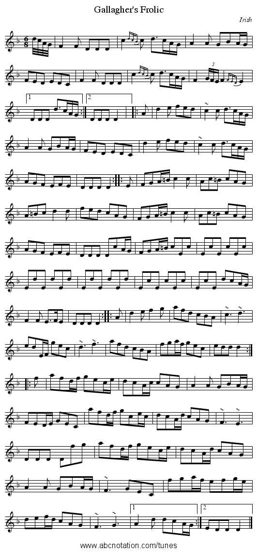 Gallagher's Frolic - staff notation