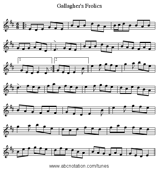 Gallagher's Frolics - staff notation