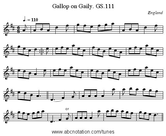Gallop on Gaily. GS.111 - staff notation