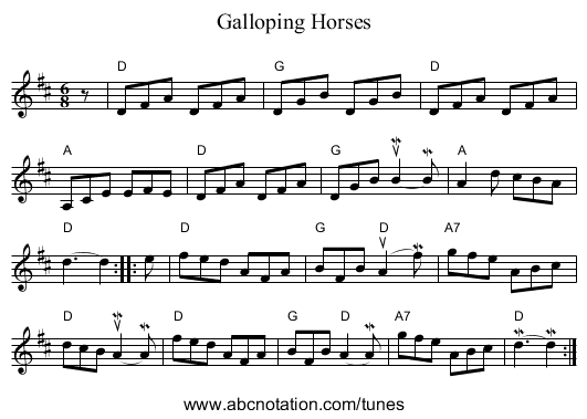 Galloping Horses - staff notation