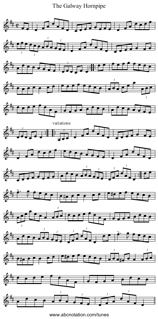 Galway Hornpipe, The - staff notation