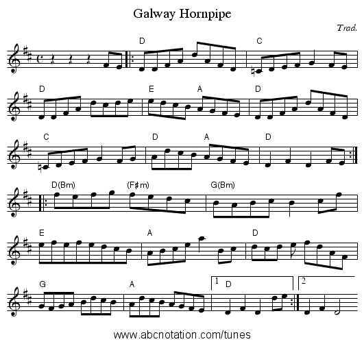 Galway Hornpipe - staff notation