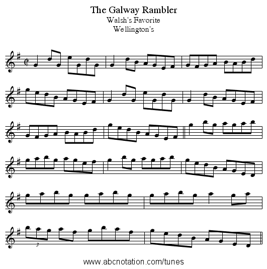 Galway Rambler, The - staff notation