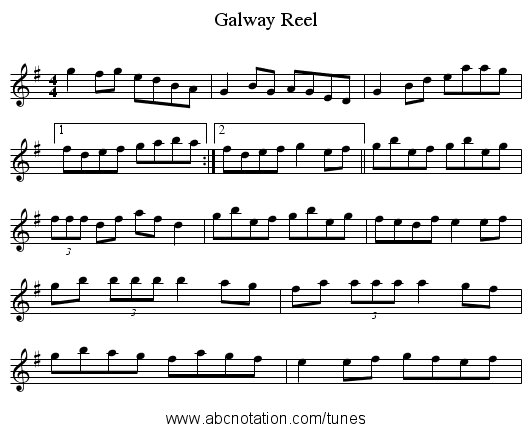 Galway Reel - staff notation