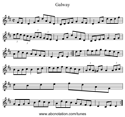 Galway - staff notation