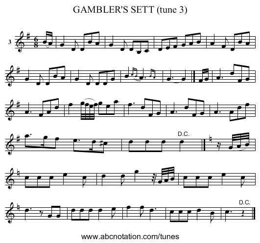 GAMBLER'S SETT (tune 3) - staff notation