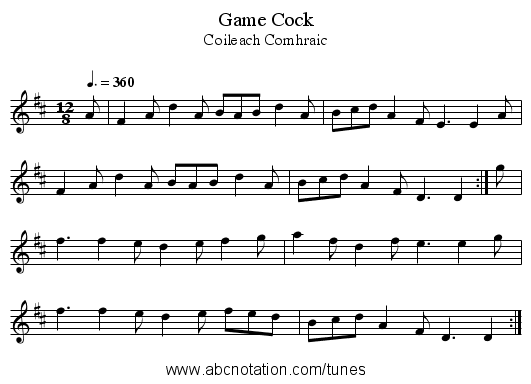 Game Cock - staff notation