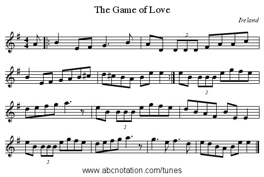 Game of Love, The - staff notation