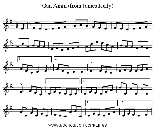 Gan Aimn (from James Kelly) - staff notation