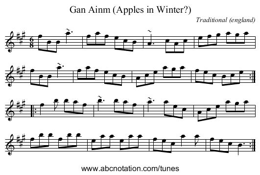 Gan Ainm (Apples in Winter?) - staff notation