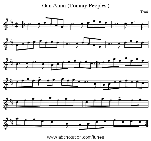Gan Ainm (Tommy Peoples') - staff notation