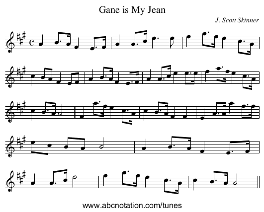 Gane is My Jean - staff notation