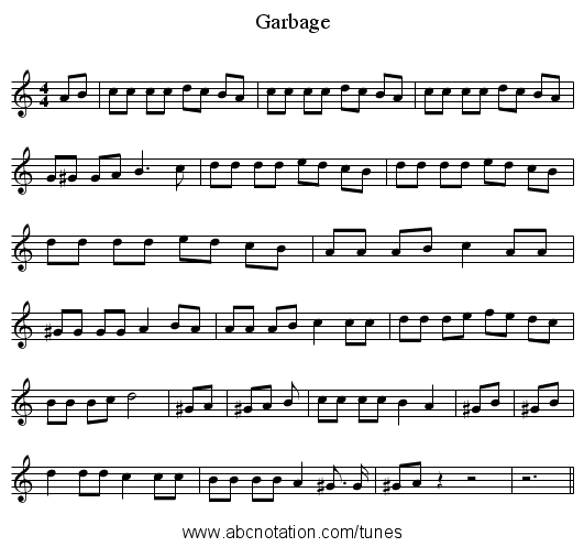 Garbage - staff notation