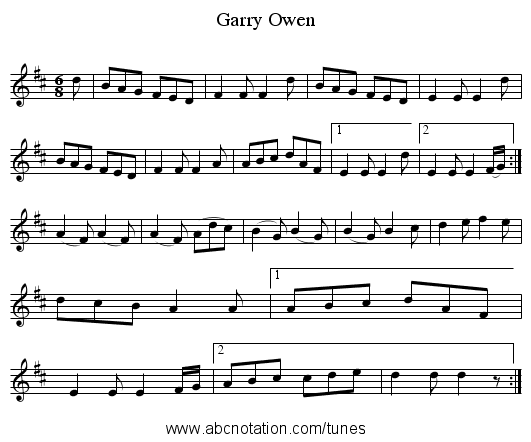 Garry Owen - staff notation