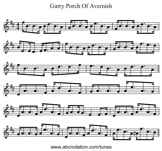 Garry Porch Of Avernish - staff notation