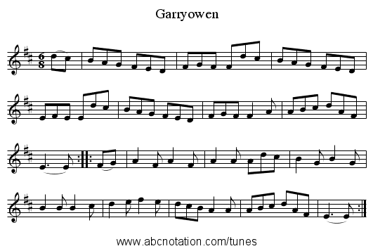 Garryowen - staff notation