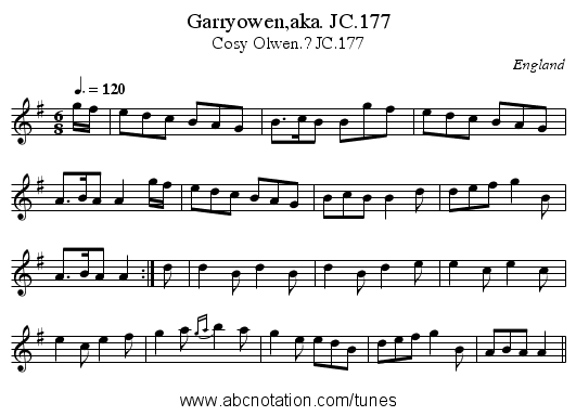 Garryowen,aka. JC.177 - staff notation