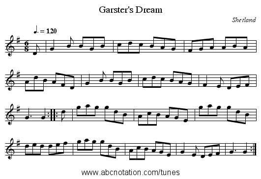 Garster's Dream - staff notation