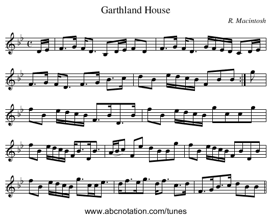 Garthland House - staff notation