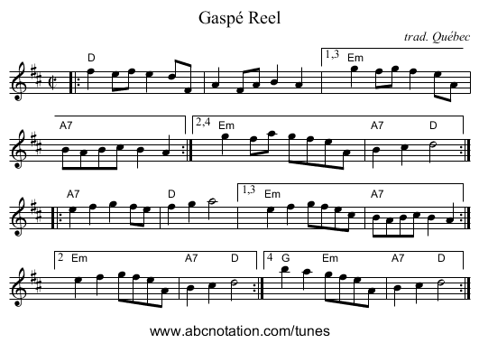 Gaspé Reel - staff notation