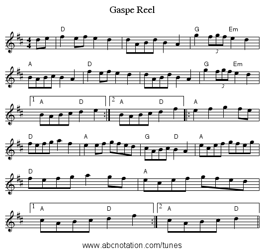 Gaspe Reel - staff notation