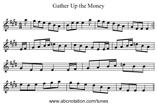 Gather Up the Money - staff notation