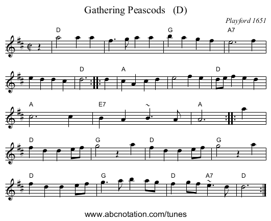 Gathering Peascods   (D) - staff notation