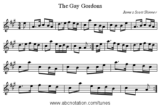 Gay Gordons, The - staff notation