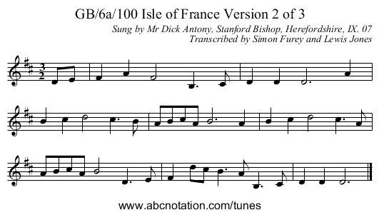 GB/6a/100 Isle of France Version 2 of 3 - staff notation