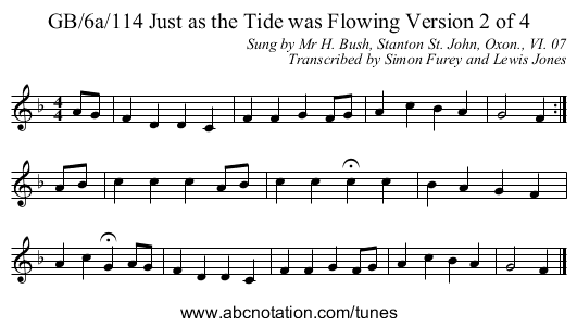GB/6a/114 Just as the Tide was Flowing Version 2 of 4 - staff notation