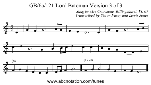 GB/6a/121 Lord Bateman Version 3 of 3 - staff notation