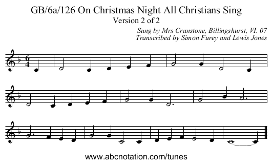 GB/6a/126 On Christmas Night All Christians Sing - staff notation