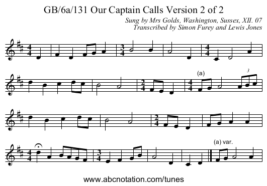 GB/6a/131 Our Captain Calls Version 2 of 2 - staff notation