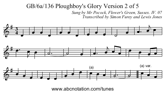 GB/6a/136 Ploughboy's Glory Version 2 of 5 - staff notation